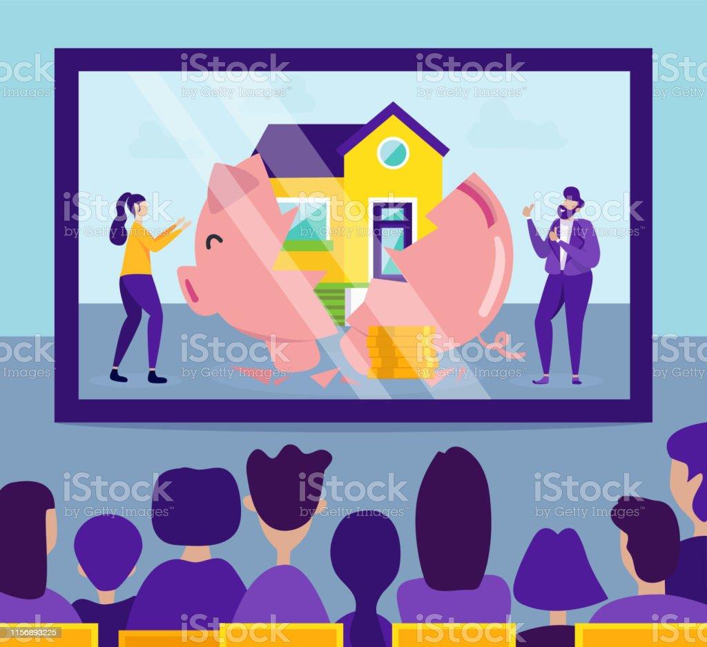 best website 870cb 1b032 Menschen Bei Presentation Housing In Raten Stock Vektor Art ...