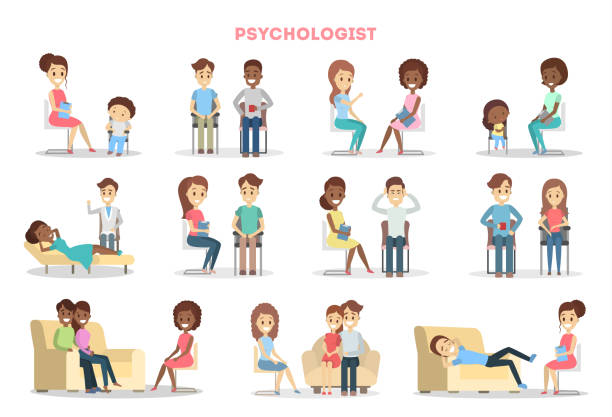 people at psychologist - therapist stock illustrations