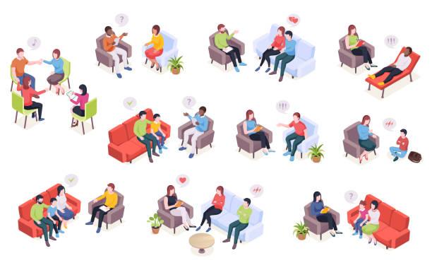 bildbanksillustrationer, clip art samt tecknat material och ikoner med personer på psykoterapi session, psykolog rådgivning för familjepar och barn, vektor isometrisk design. psykolog läkare och patienter i soffan vid psykologi terapi talar om problem - parent talking to child