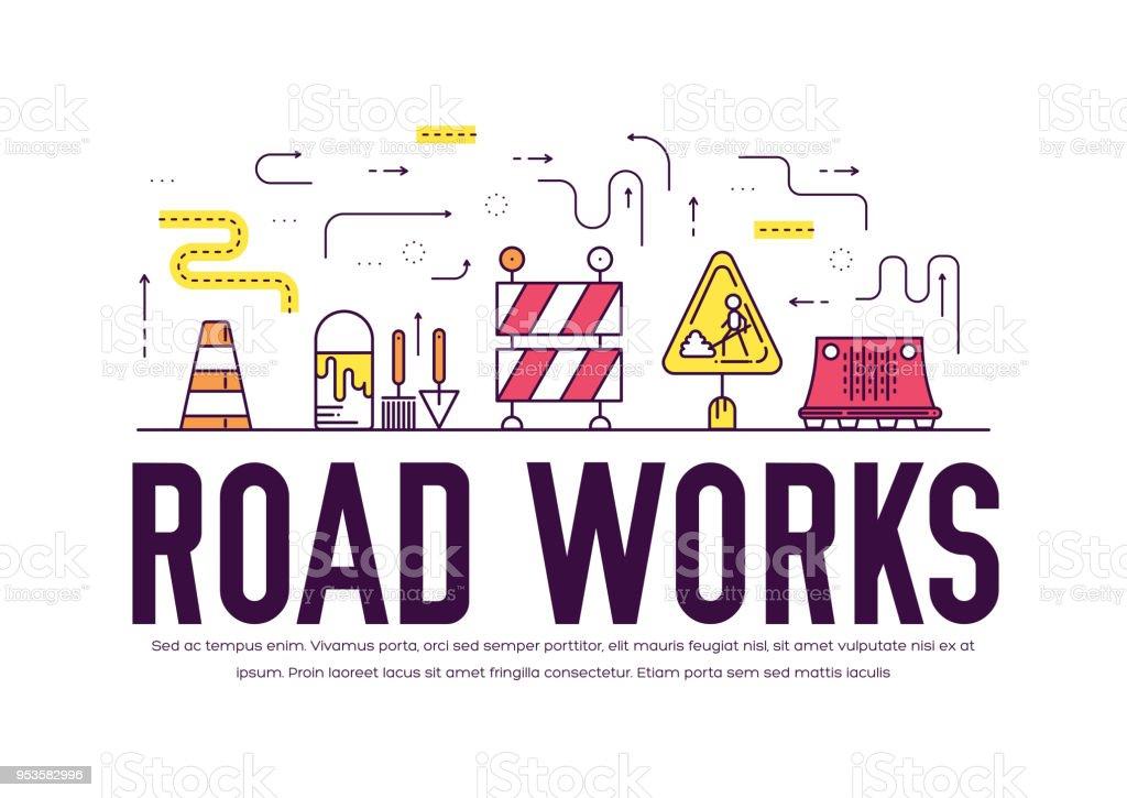 Menschen bei Straßenarbeiten Vektor Umriss Konzept. Schwere Fahrzeuge machen die Straße Wartung dünne Linie Illustration. Banner mit Typografie Slogan Text-Design. – Vektorgrafik