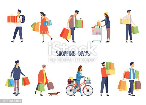 Set of isolated people while shopping. Man with gift and woman with cart, female holding pack of grocery and male with bag. Flat person or character at store or shop, mall or supermarket.Purchase, buy