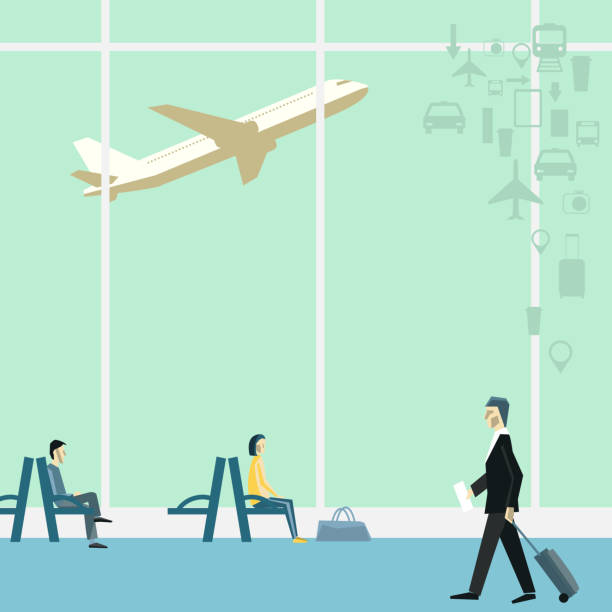 People at the airport. Vector background with travel icons. People at the airport. Vector background with travel icons. airport silhouettes stock illustrations