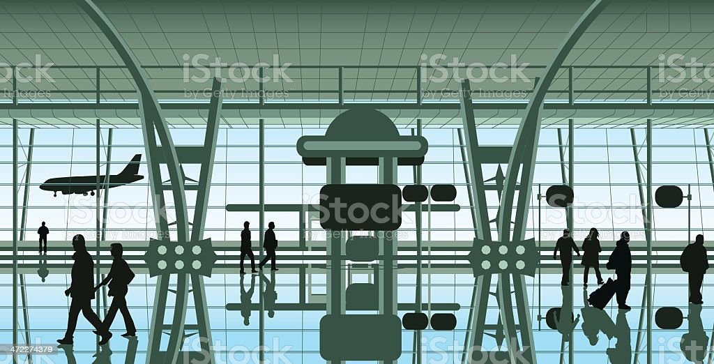 people at the airport vector art illustration