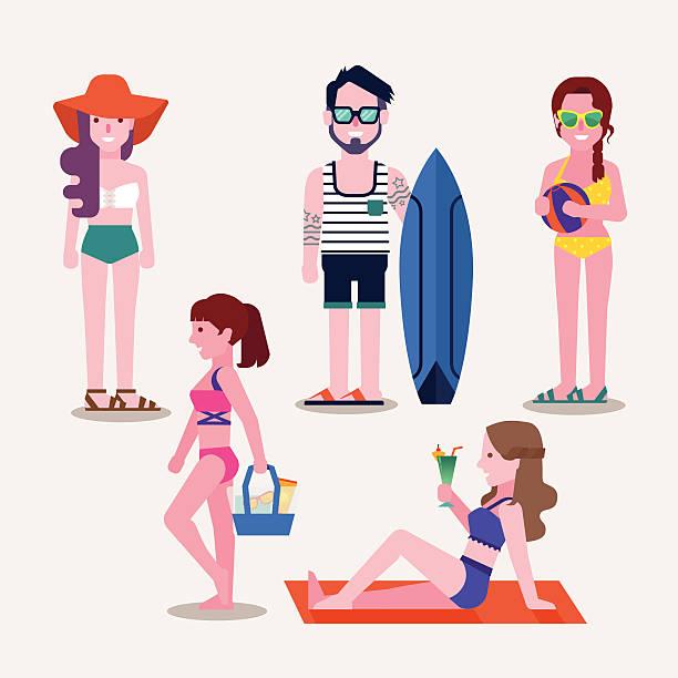 Best Girl Sunbathing Bikini Cartoons Illustrations