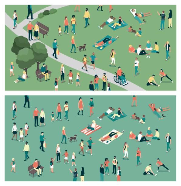 都市公園の人々 - 人 俯瞰点のイラスト素材/クリップアート素材/マンガ素材/アイコン素材