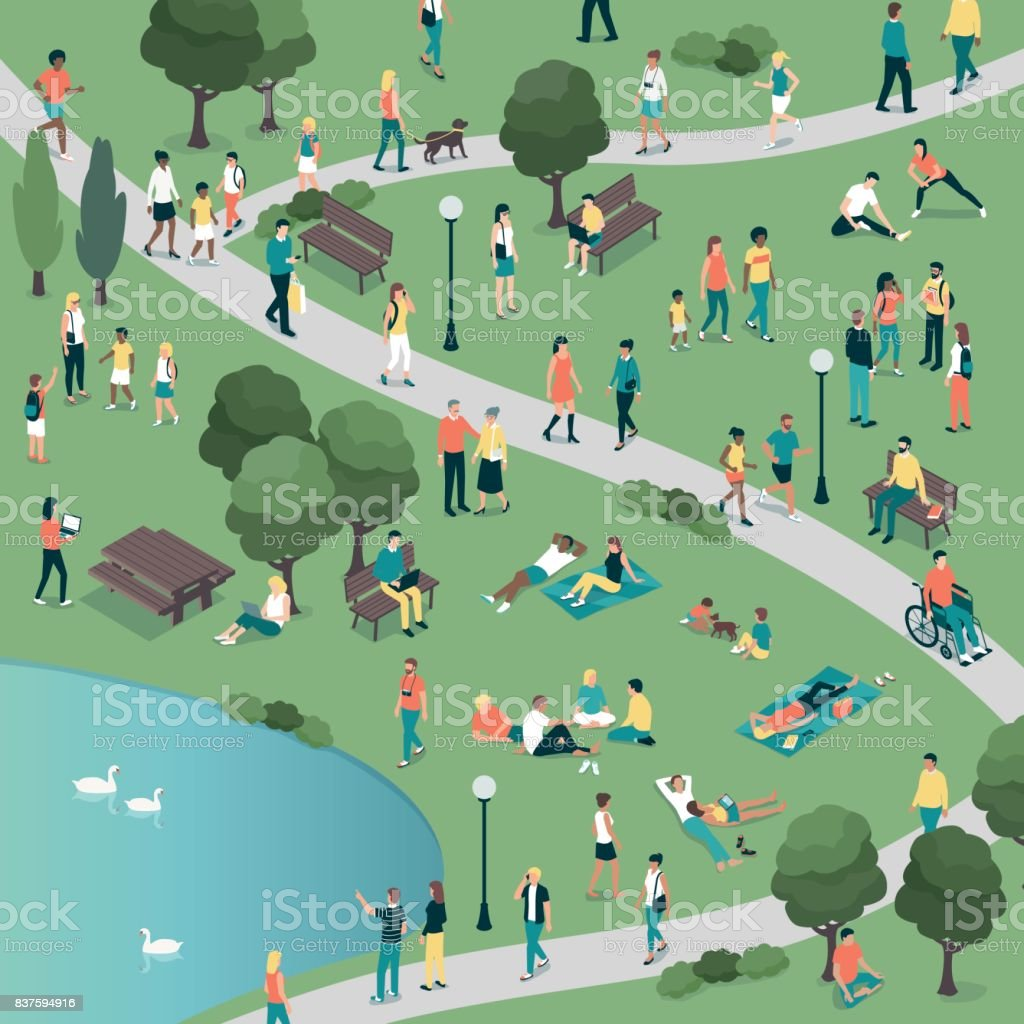 People at the city park vector art illustration