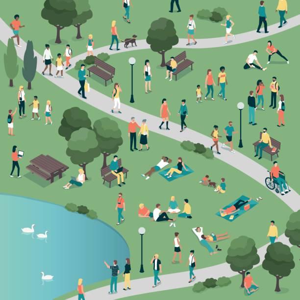 ilustraciones, imágenes clip art, dibujos animados e iconos de stock de personas en el parque de la ciudad - reunión evento social