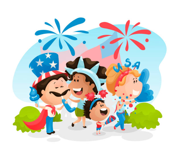 people at the independence day parade. vector illustration in flat cartoon style - family 4th of july stock illustrations