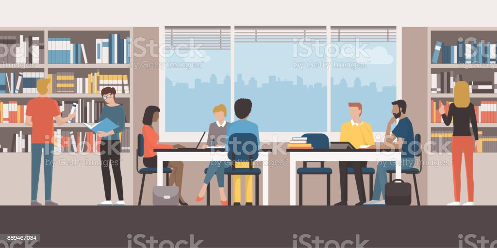People at the public library vector art illustration