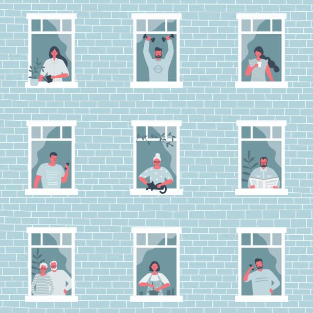 illustrazioni stock, clip art, cartoni animati e icone di tendenza di people at the window. people during the coronavirus epidemic. stay at home concept - lockdown