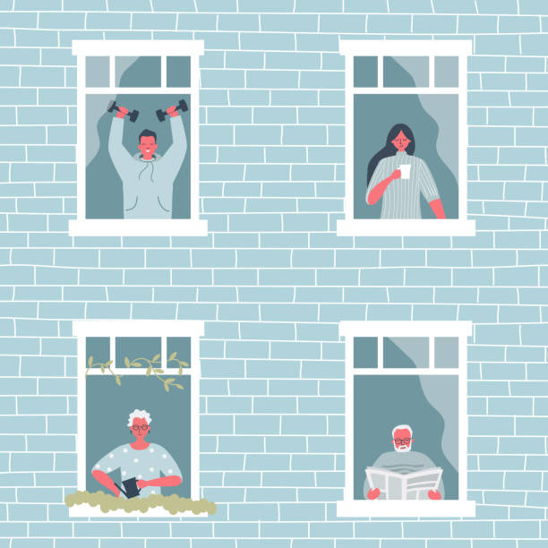People at the window. People during the coronavirus epidemic. Stay at home concept vector art illustration