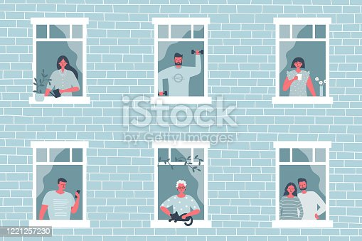 People at the window. Stay at home concept