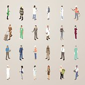 This detailed set of 24 icons is illustrated in a flat vector style. People wear uniforms or are dressed for work, including: a barista (or a waitress/cashier); firefighter in full gear; scientist with microscope; astronaut in space suit; lab technician with blood sample; construction worker in hardhat and orange vest; a delivery man with hand truck and boxes; a dentist with mask removed; a business man presenting his phone; a doctor in white coat; business women with tablet computers; a nurse; a machinist or mechanic with laptop; a police officer; a female construction worker with tablet; a soldier in combat gear; a pilot in uniform; a surgeon with mask; a chef; a young office worker; a female doctor; a sanitation worker holding a recycling bucket; and a postal carrier/postman/mail man.