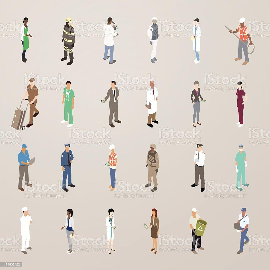 La gente en el trabajo-plano iconos ilustración - ilustración de arte vectorial