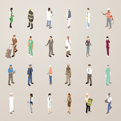 People At Work Flat Icons Illustration Stock Illustration - Download Image Now