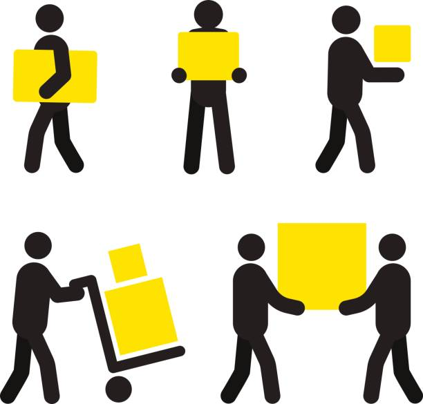 people at work icons - wózek transportowy stock illustrations