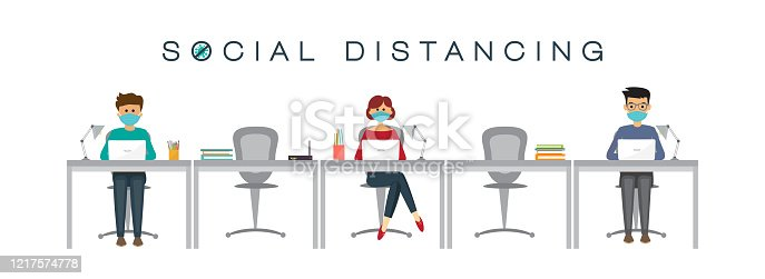 People at work, social distancing concept, prevention of coronavirus, vector illustration, People at work, social distancing concept, prevention of coronavirus, vector illustration