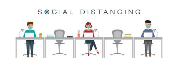 ilustrações, clipart, desenhos animados e ícones de pessoas no trabalho, conceito de distanciamento social, prevenção de coronavírus, ilustração vetorial - work