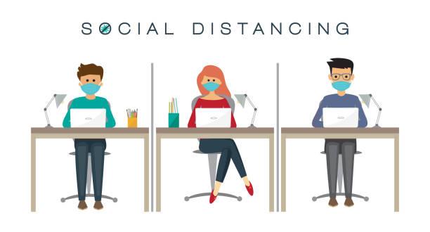 People at work, social distancing concept, prevention of coronavirus, vector illustration vector art illustration