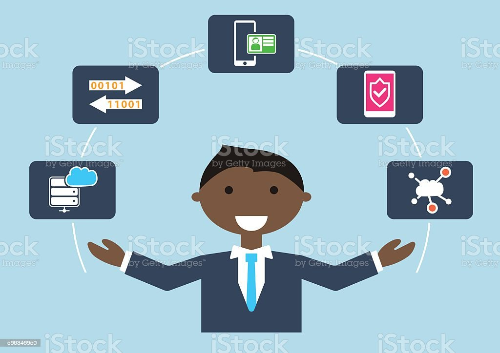 People at work: vector illustration of an IT security expert royalty-free people at work vector illustration of an it security expert stock vector art & more images of backgrounds
