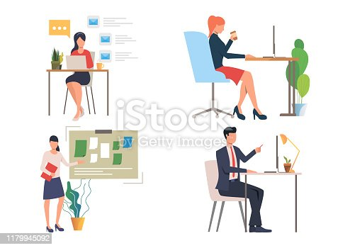 People at workplaces illustration set. Man and women sitting at desks, working on desktop, standing at note board. Office concept. Vector illustration for posters, presentations, landing pages