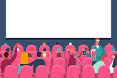 Movie audience. People in cinema vector illustration.