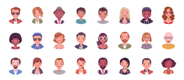 People avatar big bundle set People avatar big bundle set. User pic, different human face icons for representing person in a video game, Internet forum, account. Vector flat style cartoon illustration isolated on white background midsection stock illustrations