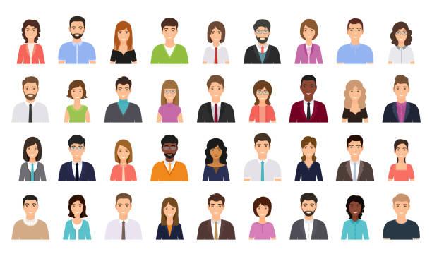 illustrazioni stock, clip art, cartoni animati e icone di tendenza di people avatar. business person icon. vector illustration. flat design. - ritratto in ufficio