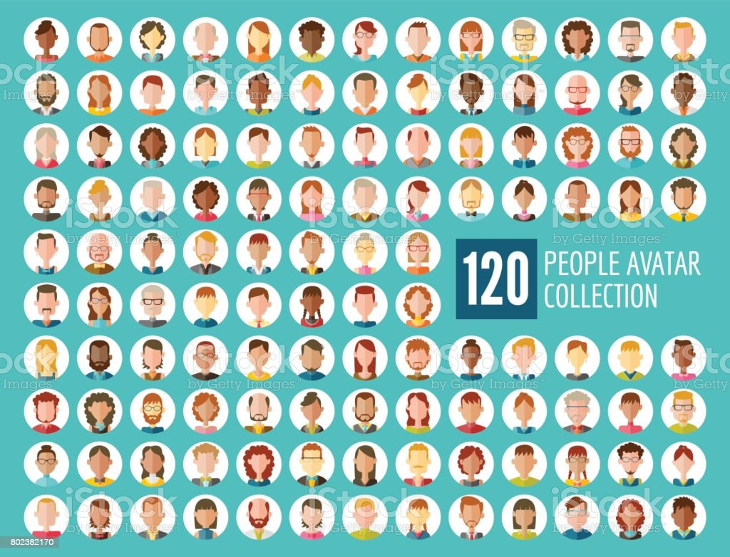 Collection d'Avatar 120 personnes - Illustration vectorielle