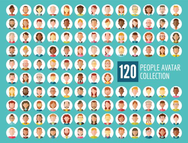 120 People Avatar Collection vector art illustration
