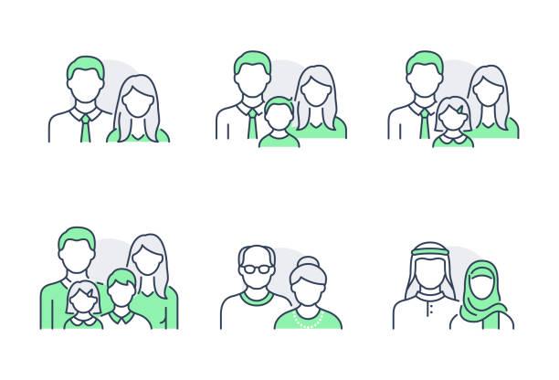 illustrazioni stock, clip art, cartoni animati e icone di tendenza di le persone avatar icone piatte. illustrazione vettoriale inclusa icona come uomo, testa femminile, musulmano, anziano, familes e coppie volto umano contorno pittogramma per profilo utente. tratto modificabile. colore verde - family