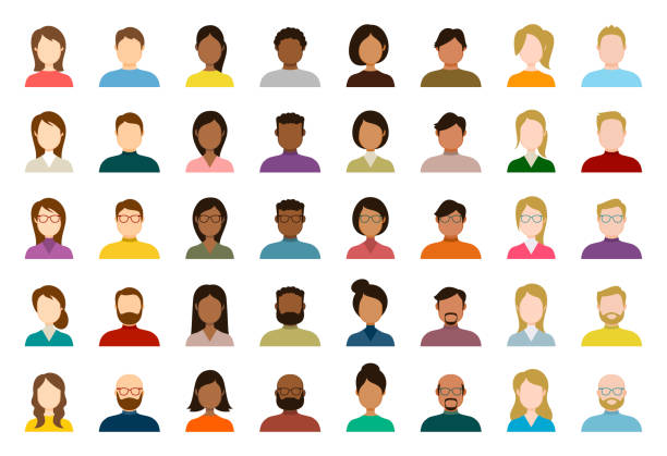 People Avatar Icon Set - Profile Diverse Empty Faces for Social Network - vector abstract illustration People Avatar Icon Set - Profile Diverse Empty Faces for Social Network - vector abstract illustration cartoon people stock illustrations