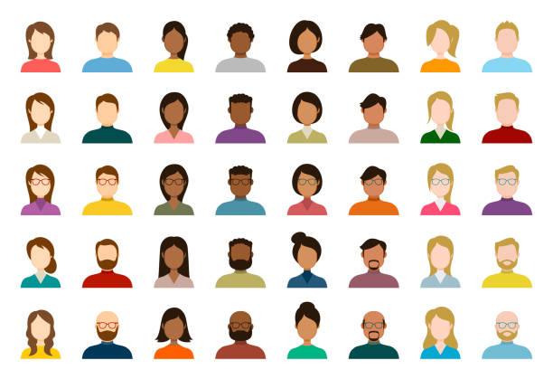illustrazioni stock, clip art, cartoni animati e icone di tendenza di people avatar icon set - profile diverse empty faces for social network - vector abstract illustration - couple portrait caucasian