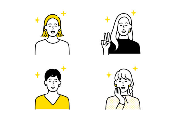 stockillustraties, clipart, cartoons en iconen met mensen avatar pictogram set - alleen japans