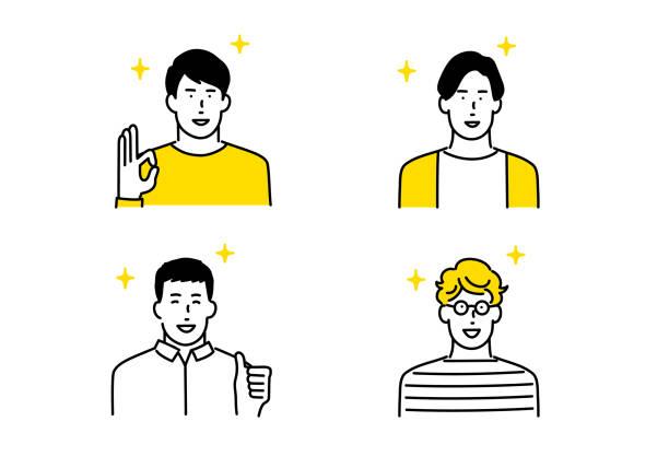 ilustrações de stock, clip art, desenhos animados e ícones de people avatar icon set - somente japonês