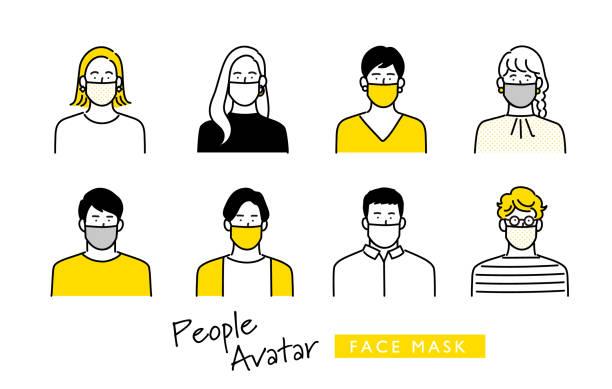 人のアバターアイコンセット - マスク 日本人点のイラスト素材/クリップアート素材/マンガ素材/アイコン素材