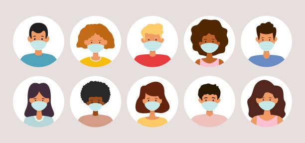 People avatar icon set wearing medical face masks. Protection against virus. vector art illustration