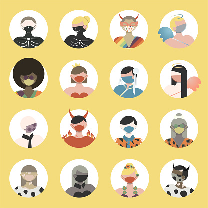 People Avatar Icons in Halloween Costumes Wearing Face Masks