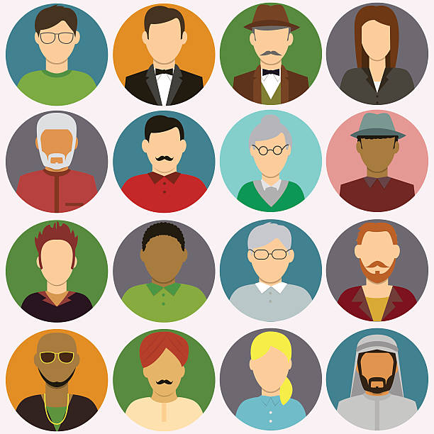 people avatar icons. people flat icons. vector - old man computer silhouette stock illustrations, clip art, cartoons, & icons