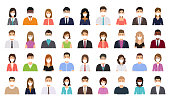 Avatar people in medical masks. Business person icon. Vector. Set office men, women. Faces corporate characters in flat design. Cartoon illustration. Team male, female workers isolated.