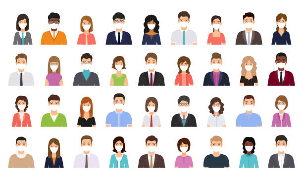 People avatar in medical masks. Business person icon. Vector illustration. Avatar people in medical masks. Business person icon. Vector. Set office men, women. Faces corporate characters in flat design. Cartoon illustration. Team male, female workers isolated. cartoon people stock illustrations
