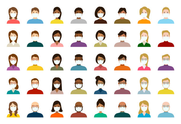 bildbanksillustrationer, clip art samt tecknat material och ikoner med människor avatar i medicinska masker icon set - profil olika ansikten för sociala nätverk - vektor abstrakt illustration - face mask