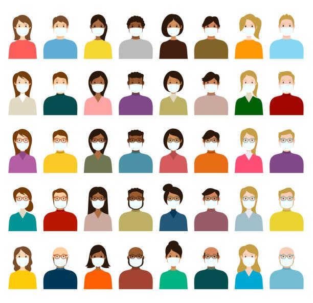 ilustrações de stock, clip art, desenhos animados e ícones de people avatar in medical masks icon set - profile diverse faces for social network - vector abstract illustration - covid hair