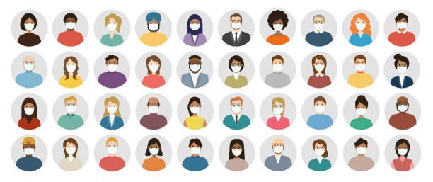 ilustrações de stock, clip art, desenhos animados e ícones de people avatar in medical masks round icon set - profile diverse faces for social network - vector abstract illustration - covid hair