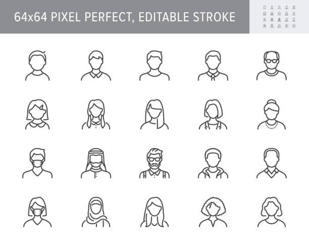 人物頭像線圖示。向量插圖包括圖示作為男人,女性,穆斯林,高級,成人和年輕的人類輪廓象形圖的使用者配置檔。64x64 像素完美可編輯描邊 - 女性 幅插畫檔、美工圖案、卡通及圖標