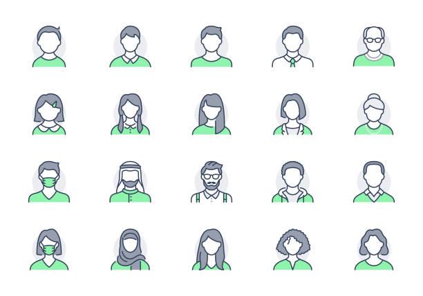 illustrazioni stock, clip art, cartoni animati e icone di tendenza di icone della linea avatar delle persone. l'illustrazione vettoriale includeva un'icona come uomo, femmina, musulmana, senior, per adulti e giovane pittogramma umano per il profilo utente. tratto modificabile, colore verde - man portrait