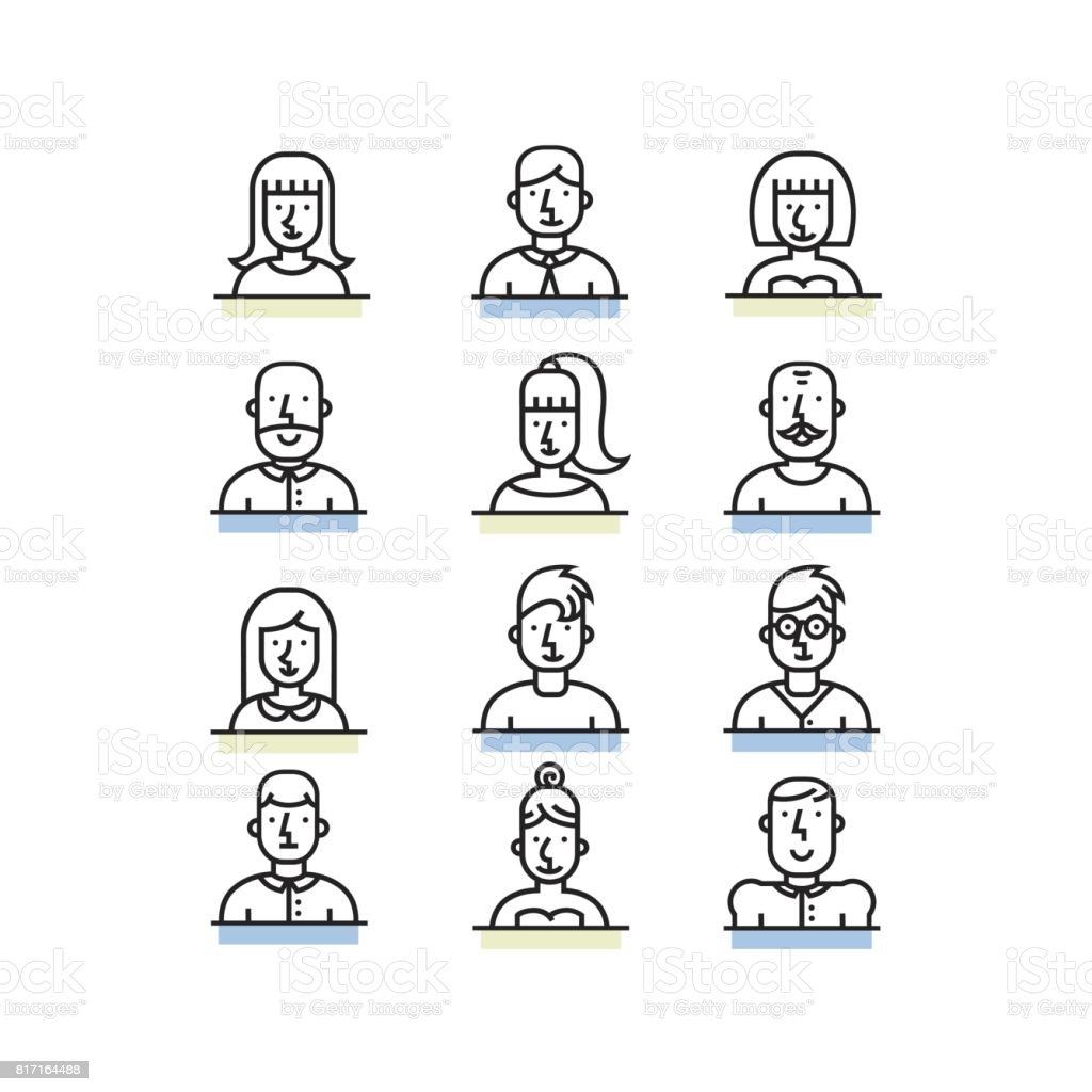 People avatar line style icons set on white background. vector art illustration