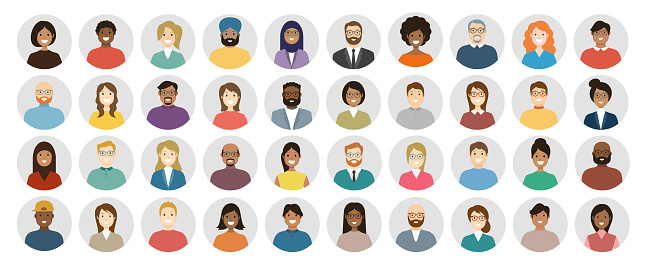 People Avatar Round Icon Set - Profile Diverse Faces for Social Network - vector abstract illustration