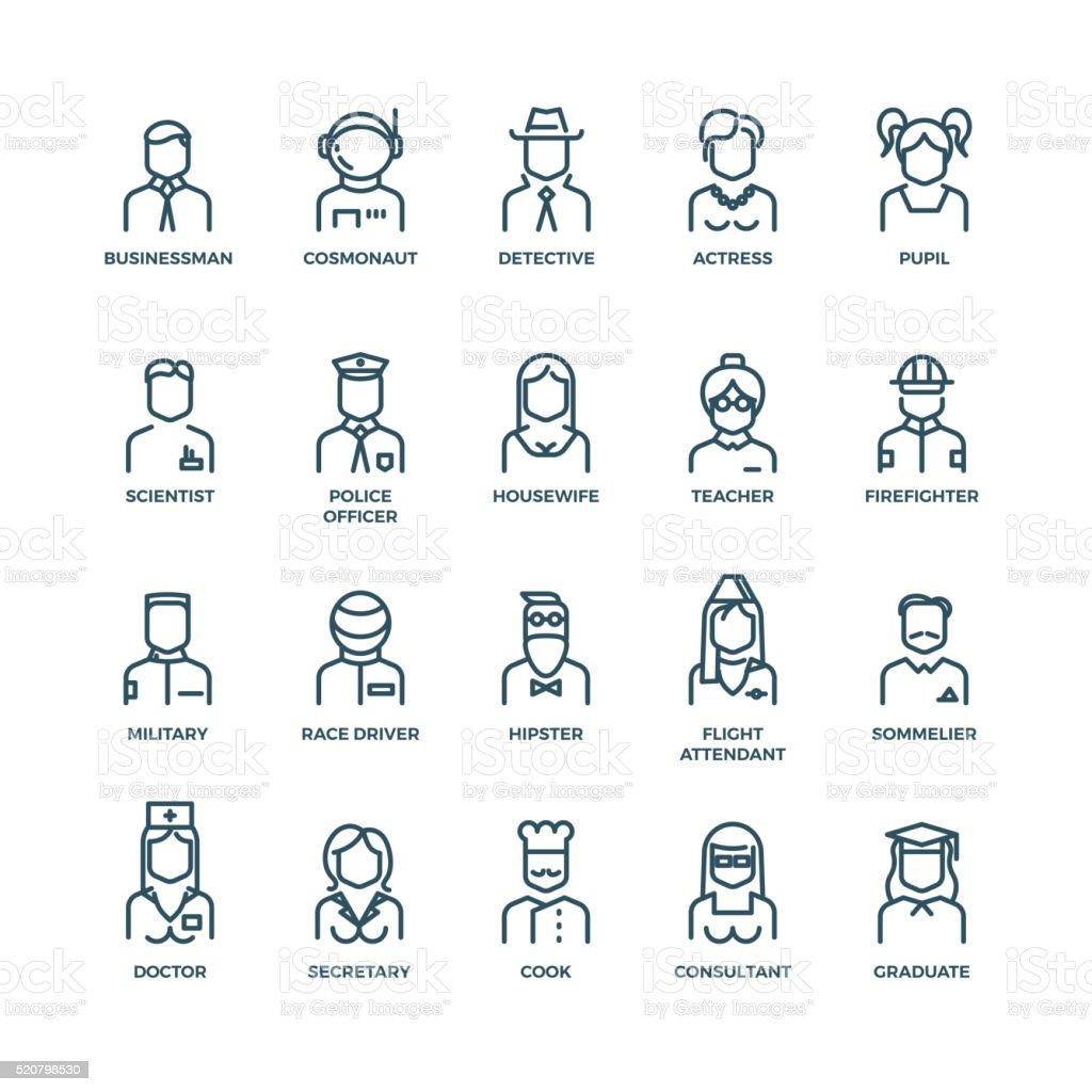 Menschen-Avatare, Zeichen Personal und Berufsgruppen zusammen. Vektor geometrische Symbole – Vektorgrafik