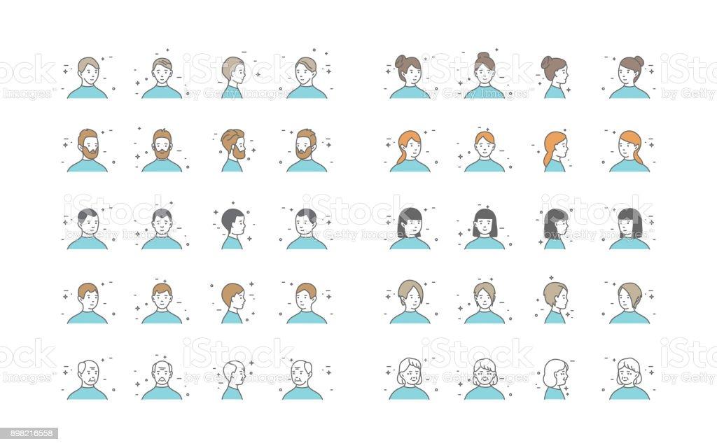 People Avatars Collection Vector. Default Characters Avatar. Cartoon Line Art Illustration vector art illustration